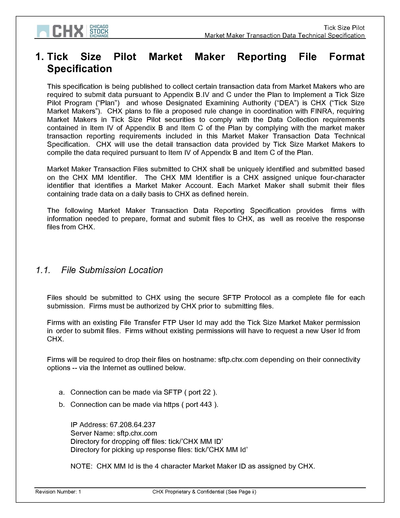 Advisorselect - Tick Size Pilot Program - CHX MM Transaction Data
